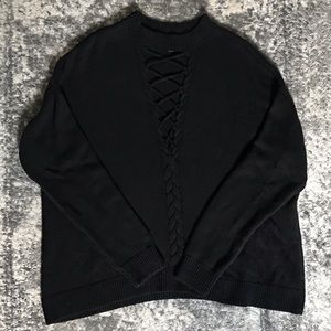 Ribbed Lace-up Sweater